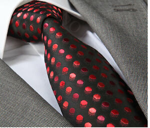NEW ITALIAN DESIGNER BLACK  ROSE RED POLKA SILK TIE - Teesside, United Kingdom - NEW ITALIAN DESIGNER BLACK  ROSE RED POLKA SILK TIE - Teesside, United Kingdom