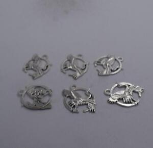 6pcs Antique silver plated nice little spoon charm pendant T0550