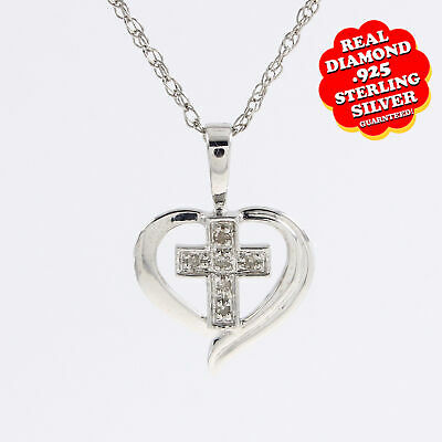 925 Sterling Silver Heart /& Cross Pendant Necklace Chain Included