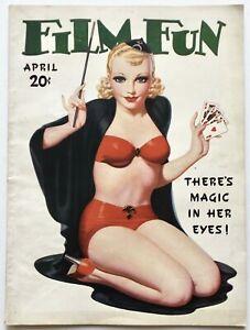 Hi-Grade April 1936 Film Fun Magazine Sexy Blonde Magician Cover by Enoch Bolles