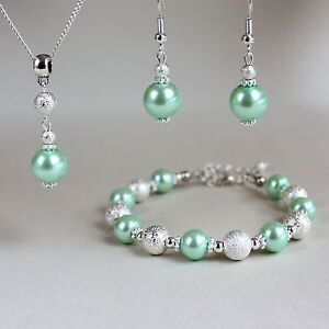 Image Is Loading Light Mint Green Pearl Necklace Earrings Silver Wedding