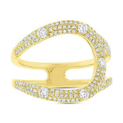 Modern 0.57CT 14K Yellow Gold Diamond Right Hand Statement Curve Cocktail Ring