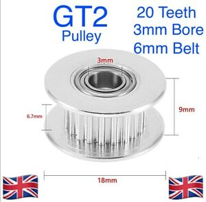 GT2 - 20 Teeth Idler Pulley  - 3mm Bore for 6mm belt - * UK SELLER *