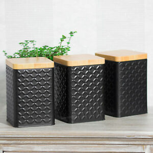 Details About Set Of Black Square Geometric Tea Coffee Sugar Canisters Storage Containers Jars
