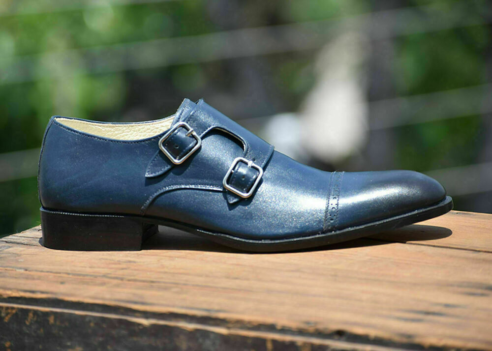 Fait à La Main En Cuir Bleu Oxford Double Monk Formal Classic Chaussure