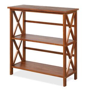3-Tier Wooden Bookshelf Bookcase X-Design Open Shelf Free Standing Rack Natural