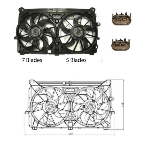 5 /& 7 Blades Rad /& Cond Fan Assembly Fits GMC Sierra Yukon V8 4.8L 5.3L /& 6.0L