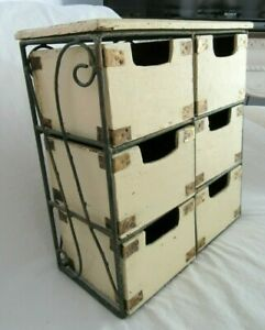 VINTAGE WOOD WROUGHT IRON CUBBY DRAWER ORGANIZER COUNTRY PRIMITIVE SHABBY PAINT