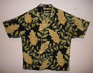 6f07b9ec Tommy Bahama Hawaiian Shirt Men's Black Yellow Green 100% Silk LARGE ...