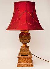 GOLD EMPIRE STYLE ARTICHOKE LAMP ON FAUX MARBLE BASE