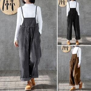 Mode-Femme-Combinaisons-Velours-Cotele-Loisir-Ample-Sans-Manche-Pantalons-Plus