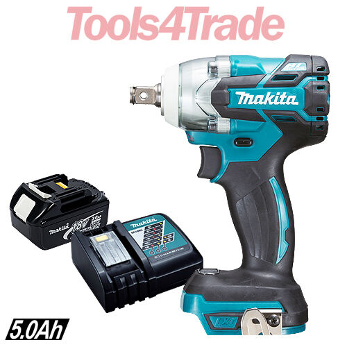 Makita DTW285Z 18V Brushless 1 2  Impact Wrench With 1 x 5.0Ah Battery & Charger