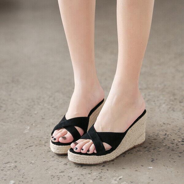 Sandales Cuir Synthetique Corde Sabot Compensé 9 cm noir Confortable Plarform