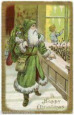 PERE NOEL.SANTA CLAUS. CHRISTMAS. ROBE VERTE . GREEN DRESS