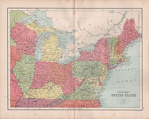 1875 Antique Map Northern United States Virginia Illinois Maine New York Ebay