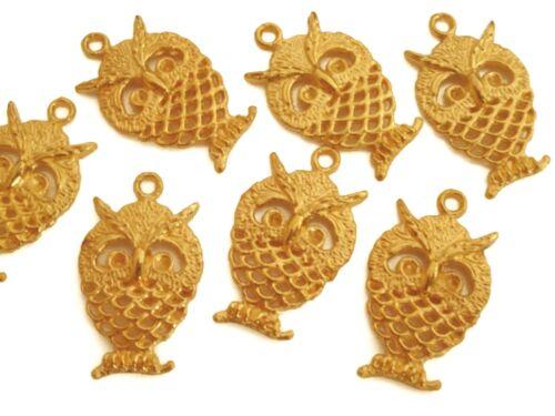 10 pendentifs Hibou 25mm goldfarbig perles Nenad-Design an622