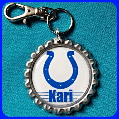 Personalized INDIANAPOLIS COLTS Bottle Cap Key Ring Chain Zipper Pull 4 Backpack