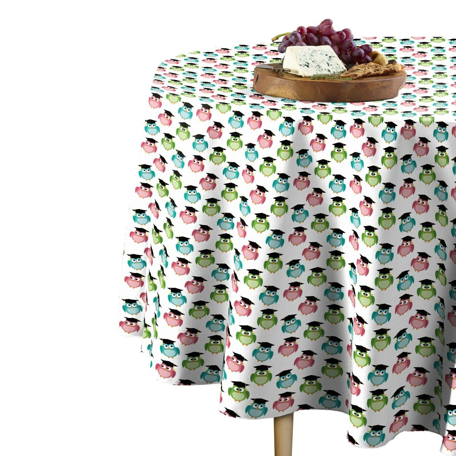 Graduation Owls Toss Signature Round Tablecloth Assorted Größes