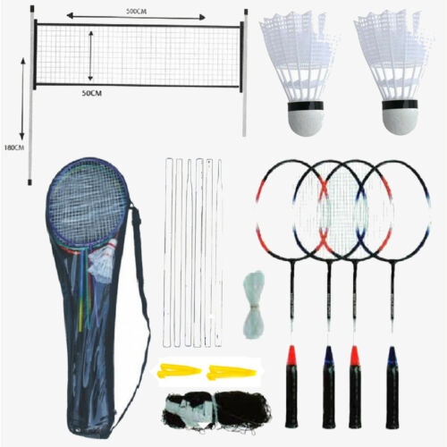 PROFESSIONAL BADMINTON SET 4 PLAYER RACKET SHUTTLECOCK POLES NET BAG GARDEN GAME
