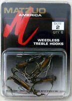 30 Matzuo 390021 Bronze Weedless Treble Fishing Fish Hooks Size 2 - 30 Hooks
