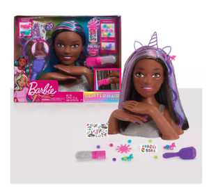 Barbie Rainbow Sparkle Deluxe Styling Head *Blue Purple /& Brown Hair*