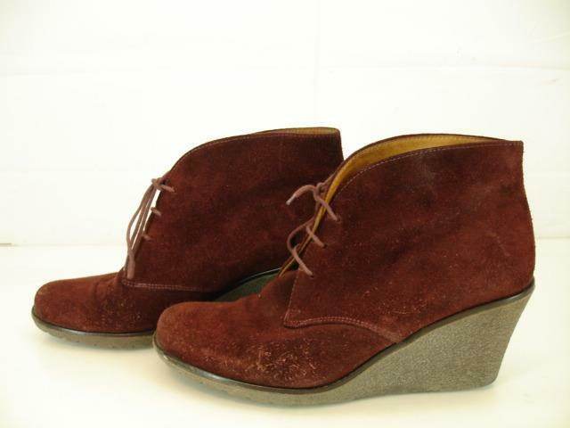 Gabor Donna   8 M Barolo Lace-Up Wedge Ankle Stivali Bordo Suede Pelle