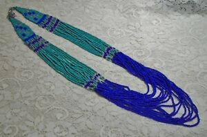 VINTAGE MULTI STRAND BLUE & GREEN GLASS SEED BEADED NECKLACE 32 INCH INDIA