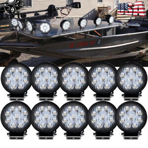Details About 10x 27w Round Pontoon Marine Boat Led Lights Head Lamp Docking 12v 24v Dc