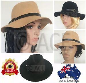 Unisex Mens Womens Hats Adjustable 100% Wool Trilby Wide Brim Floppy ... 0a319dc461b