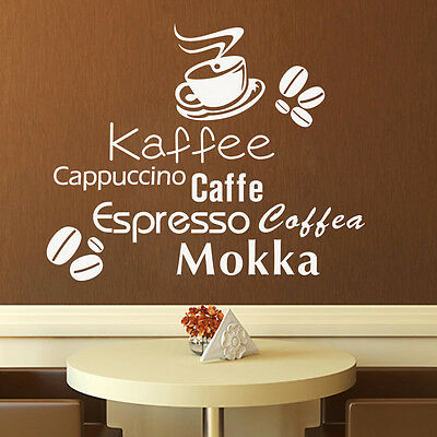 Wall Decal Words Cafe Coffee Kaffee Kitchen Home Decor Mural Wall Sticker Decal