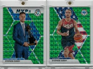 2019-20-Panini-Mosaic-Stephen-Curry-299-MVP-amp-260-USA-Green-Prizm-Warriors