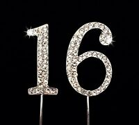 Sweet 16 Birthday Number Cake Topper With Sparkling Rhinestone Crystals - 1.75, on Sale