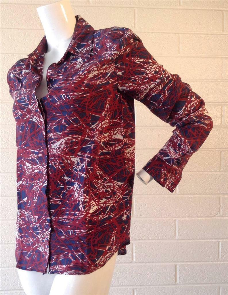 100% Silk Blouse designed w  Geometric Print by M by Marcus Sz Large