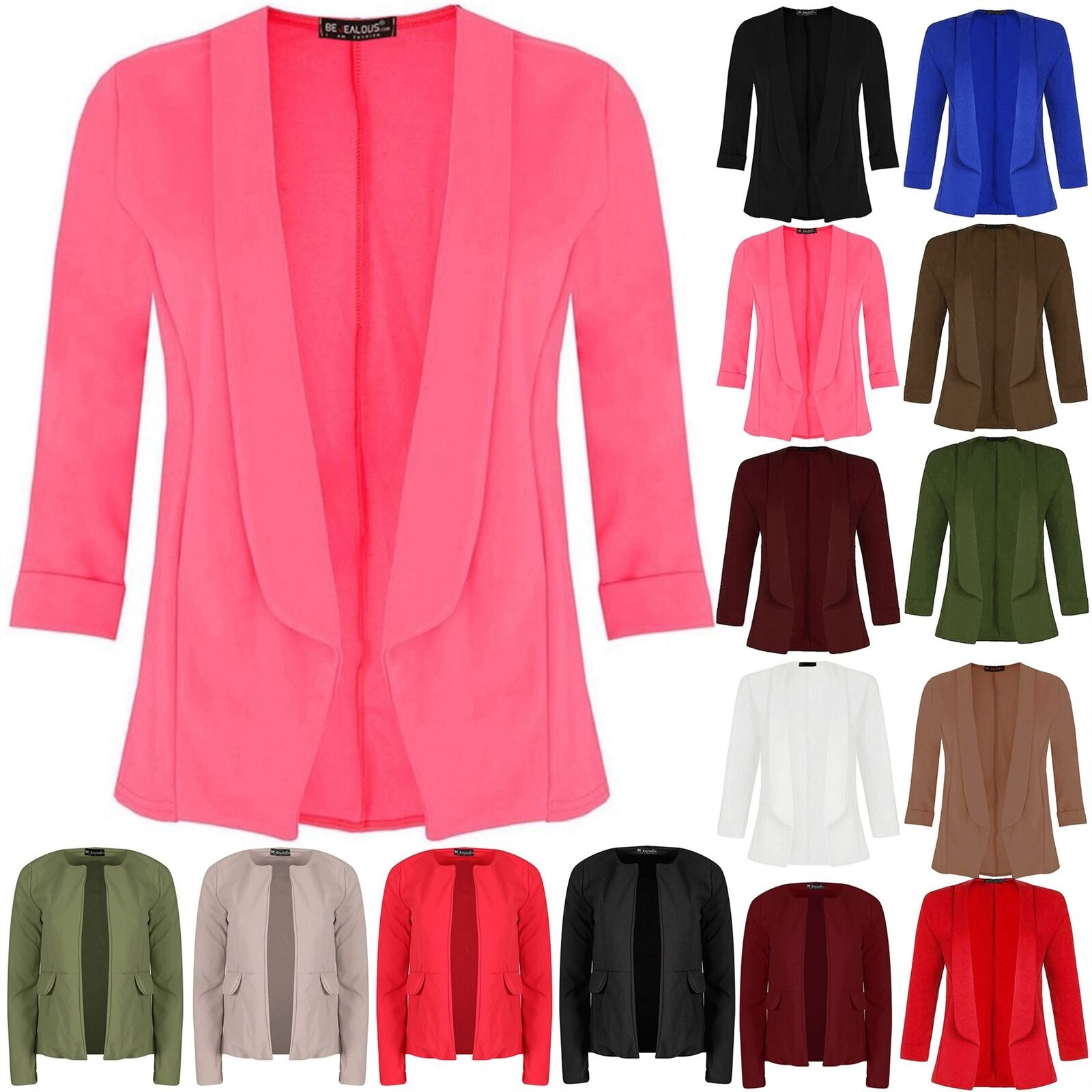 Womens Ladies Short Turn Up Sleeve Open Front Collared Casual Coat Blazer Jacket