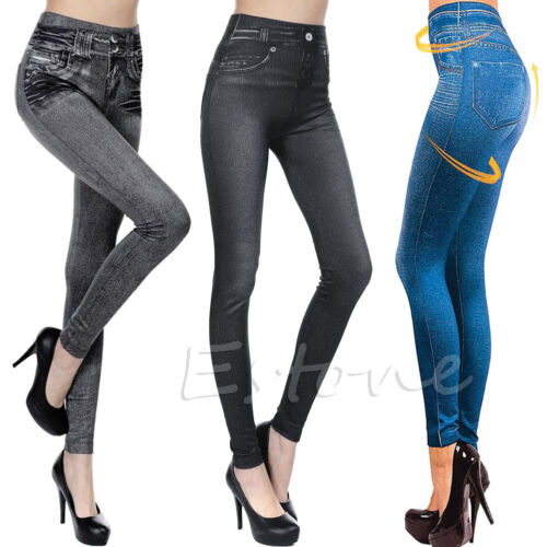 Women Girl Skinny Jeggings Stretchy Pants Leggings Jeans Pencil Tight Trousers G