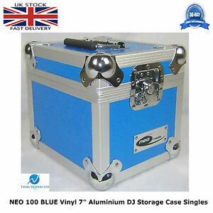 1-X-NEO-Aluminium-BLUE-DJ-Flight-Case-to-Store-100-Vinyl-Single-7-034-Record-STRONG