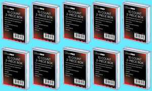 10-ULTRA-PRO-10-COUNT-CLEAR-2-PIECE-CARD-STORAGE-BOXES-NEW-Case-Sports-Gaming