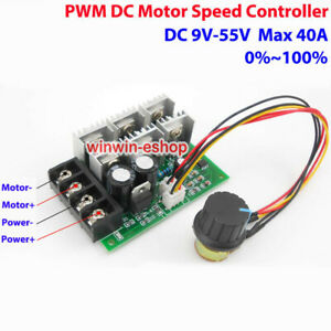 40A DC 9V-55V 12V 24V 36V 48V High Power PWM Brush Motor Speed Controller Switch