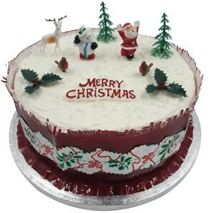 Christmas Cake Toppers.Details About 10 Piece Set Merry Christmas Cake Decorations Yule Log Cupcake Toppers