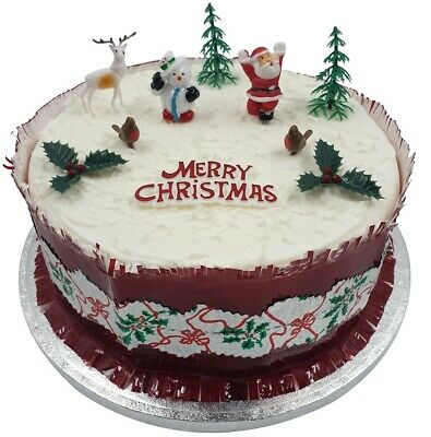Christmas Cake Decorations.10 Piece Set Merry Christmas Cake Decorations Yule Log Cupcake Toppers Ebay