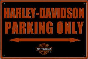 Blechschild HARLEY DAVIDSON PARKING ONLY 30 x 20 cm Metallschild Vintage NEU