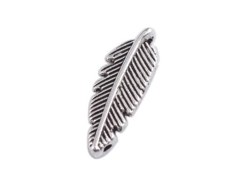 100PCS Tibetan Silver Metal Feather Charms Pendants FC39361