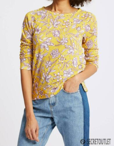 M/&S New Ladies Plus Size YELLOW Floral Print Raglan Sleeve round neck T-Shirt