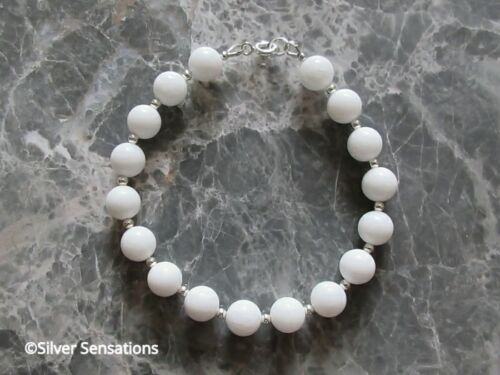 Bright Snowy White Agate /& Sterling Silver Ladies Beaded Bracelet Gift For Her