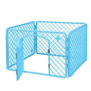 4-Panel Dog Crate Pet Kennel Cage Pet Playpen Fence with Lockable Door , Blue
