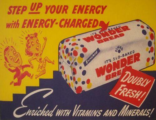 "TIN SIGN /""Wonder Bread Energy /"" Food Art Deco Kitchen Wall Decor"