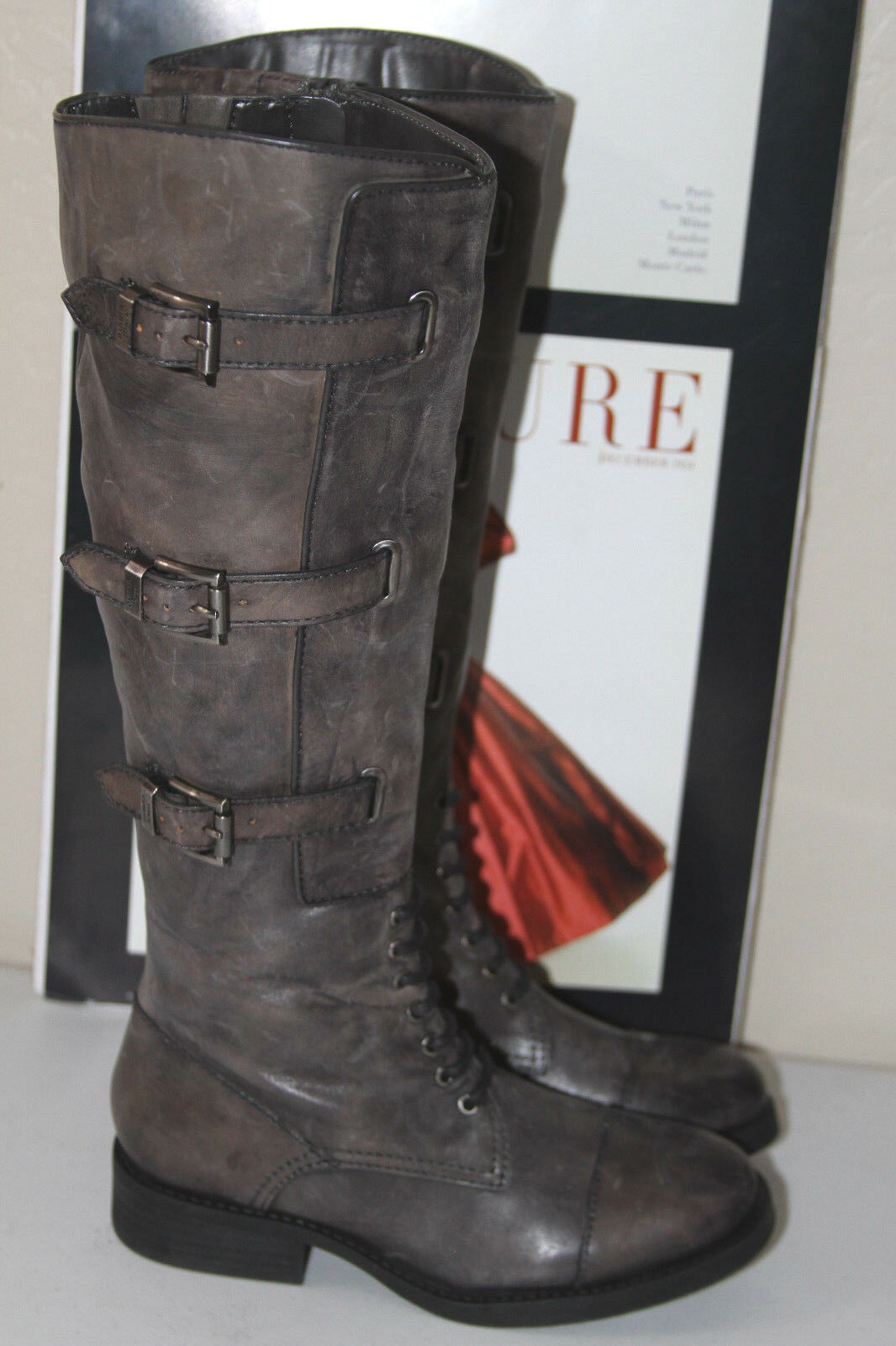 75 VINCE CAMUTO FENTON LEATHER BUCKED KNEE HIGH BOOTS  SZ 5  MSRP 229