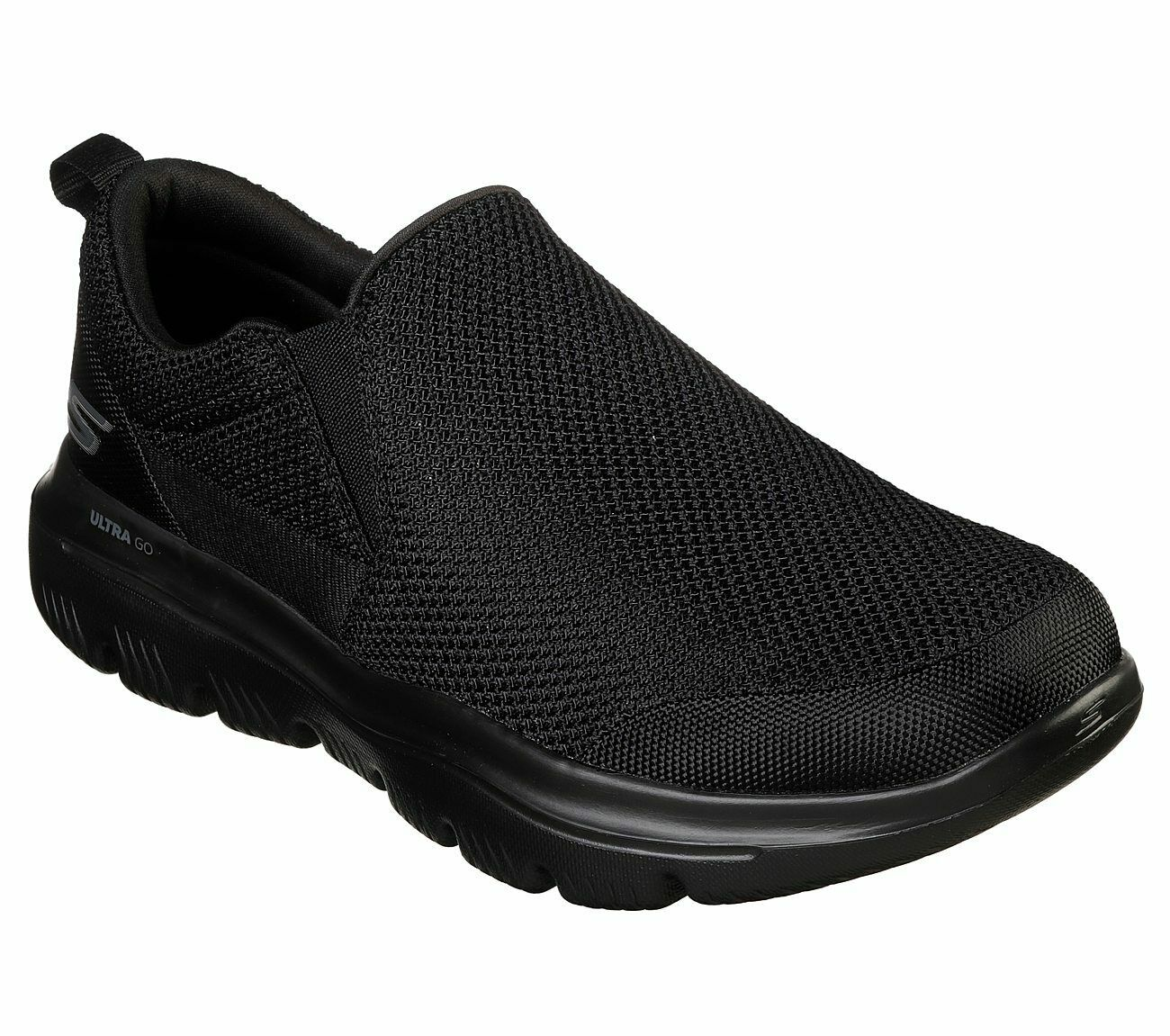 Skechers Extra Wide Fit Black shoe Men Comfort Soft Slip On Casual Go Walk 54738