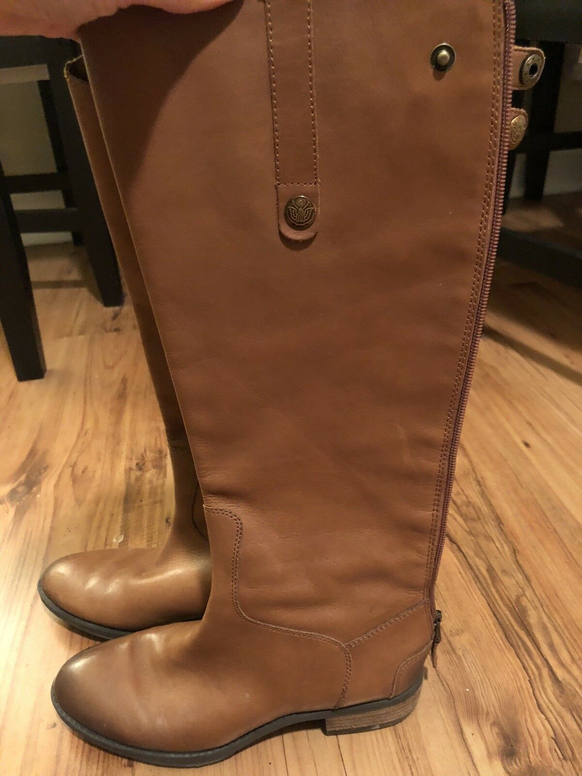Women's Sam Edelman Penny Leather Riding Boots Brown Size 6 M
