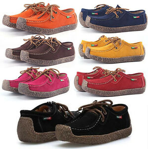 New-Womens-Ladies-Flats-Casual-Lace-up-oxfords-Pumps-Leather-Sneakers-Shoes